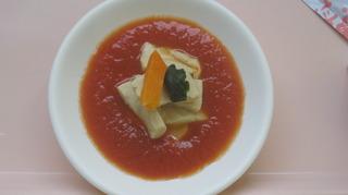 57-29日朝食トマトソースの上に炒めた高野豆腐.JPG